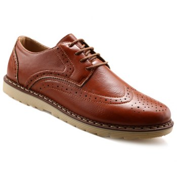 Trendy PU Leather and Engraving Design Formal Shoes For Men