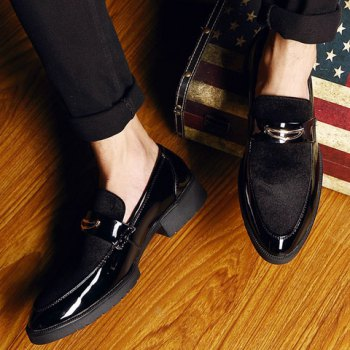 Fashion Patent Leather and Black Design Formal Shoes For Men - BLACK 39
