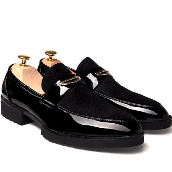 Fashion Patent Leather and Black Design Formal Shoes For Men - BLACK 42