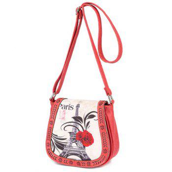 Fashionable Floral Print and Engraving Design Women's Shoulder Bag - WATERMELON RED