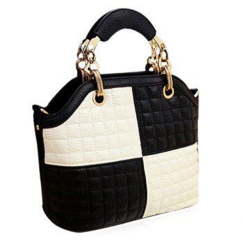 Stylish Plaid and Colour Block Design Women's Shoulder Bag