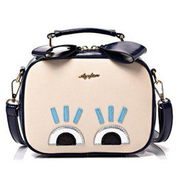 Stylish Colour Block and Eyes Design Women's Crossbody Bag