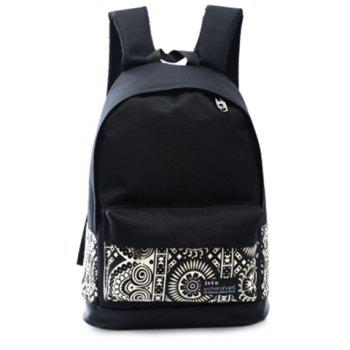 Trendy Canvas and Color Block Design Women's Backpack