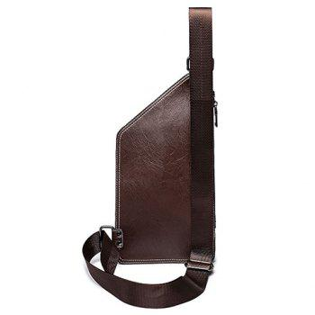 Simple Solid Colour and Zippers Design Men's Messenger Bag - COFFEE