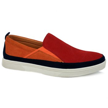 Fashionable Color Block and Suede Design Casual Shoes For Men - RED 39