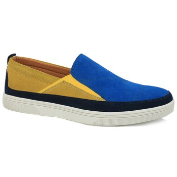 Fashionable Color Block and Suede Design Casual Shoes For Men - BLUE 40