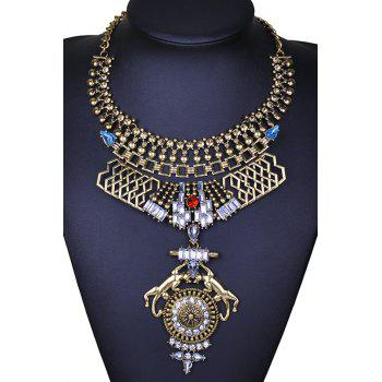 Faux Crystal Decorated Chunky Necklace - GOLDEN