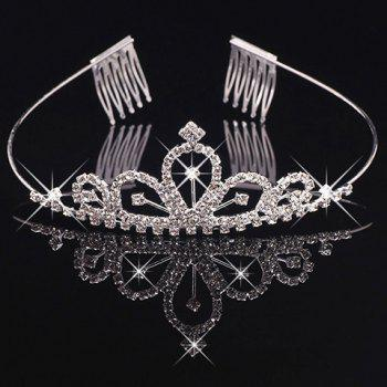 Stunning Rhinestoned Hollow Out Crown For Women - SILVER SILVER