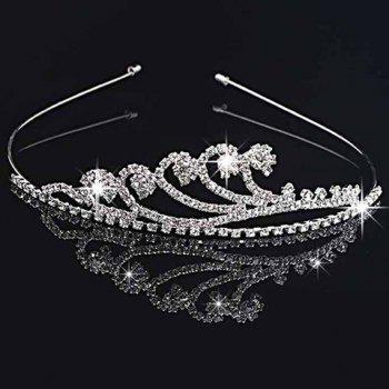 Graceful Solid Color Rhinestone Crown For Women - SILVER SILVER