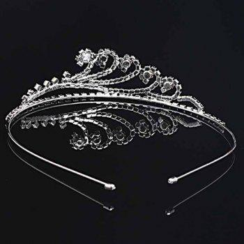Graceful Solid Color Rhinestone Crown For Women -  SILVER