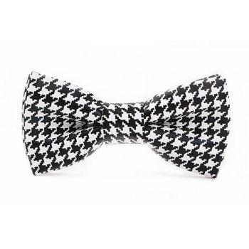 Stylish Houndstooth Pattern Men's Black and White PU Bow Tie