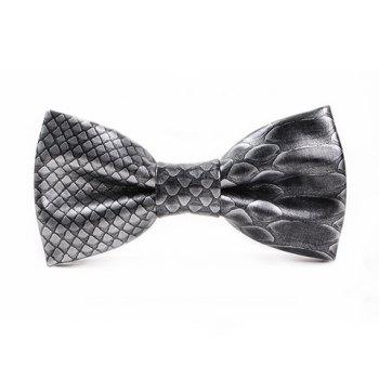Stylish 3D Fish Scale Pattern Men's PU Bow Tie