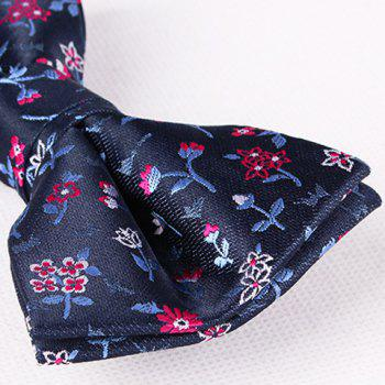 Stylish Flower and Leaf Jacquard Men's Bow Tie - PEA GREEN