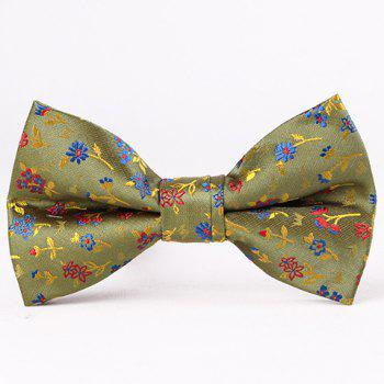 Stylish Flower and Leaf Jacquard Men's Bow Tie