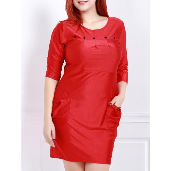 Buy Charming Solid Color Button Design 3/4 Sleeve Plus Size Dress Women RED
