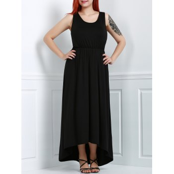 Trendy Black U-Neck Sleeveless High Waist Asymmetric Plus Size Dress For Women