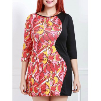 Sexy Round Collar 3/4 Sleeve Printed Spliced Women's Dress
