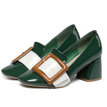 Stylish Buckle and Color Block Design Women's Pumps - GREEN 37