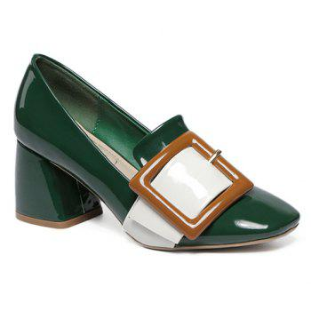 Stylish Buckle and Color Block Design Women's Pumps