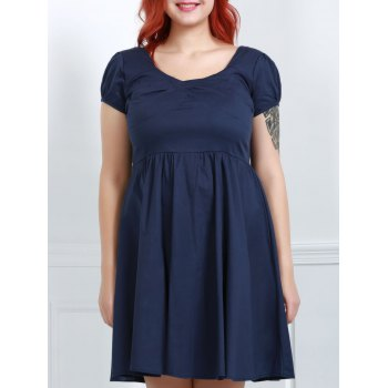 Elegant Cap Sleeve Sweetheart Neck Solid Color Women's Plus Size Dress