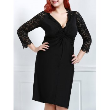 Sexy Black Plunging Neck Lace Spliced Long Sleeve Dress Women