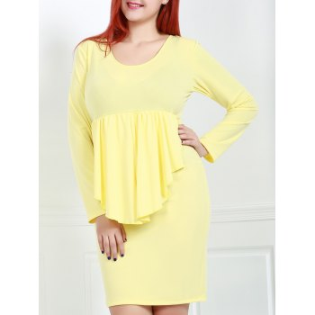 Sexy Plunging Neck Long Sleeve Plus Size Pure Color Women's Dress