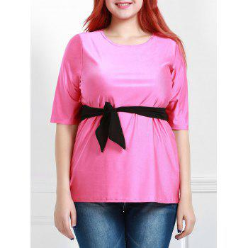 Attractive Round Collar Half Sleeve Belted Plus Size Blouse For Women