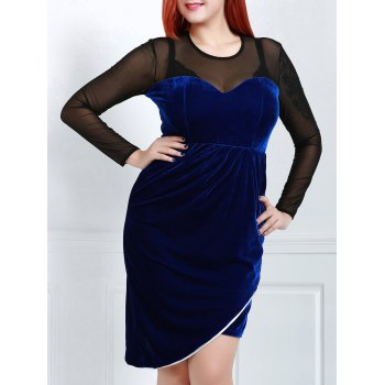Sexy Long Sleeve Round Neck See-Through Women's Plus Size  Dress