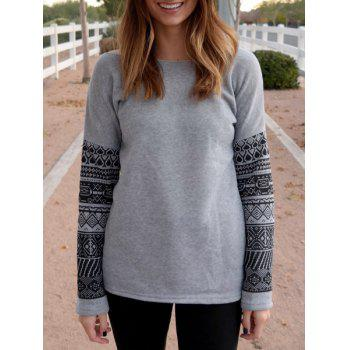 Attarctive Geometric Print Spliced Thick Sweatshirt For Women