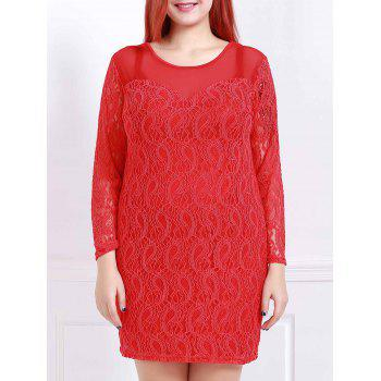 Stylish Scoop Neck 3/4 Sleeve Plus Size Solid Color Women's Lace Dress
