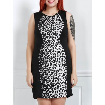 Sexy Scoop Collar Sleeveless Leopard Print Spliced Women's Dress