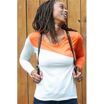 Glamour Round Neck Color Block Splice Design Long Sleeve Slim Fit Cotton Blend Women's T-Shirt - ONE SIZE ONE SIZE
