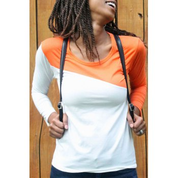 Glamour Round Neck Color Block Splice Design Long Sleeve Slim Fit Cotton Blend Women's T-Shirt