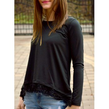 Charming Lace Spliced Hem Long Sleeve T-Shirt For Women