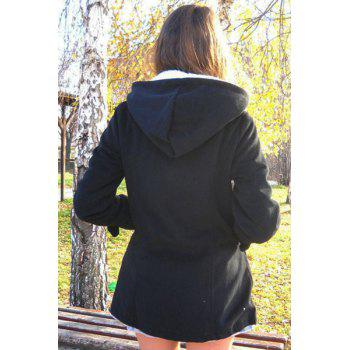 Casual Hooded Solid Color Double-Pocket Flocking Long Sleeve Women's Coat - BLACK M
