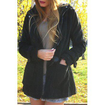 Casual Hooded Solid Color Double-Pocket Flocking Long Sleeve Women's Coat