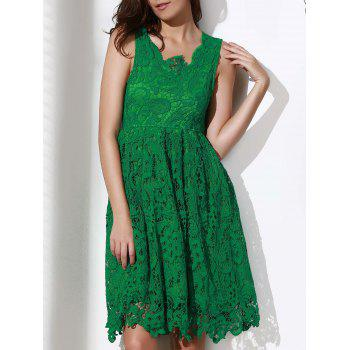 Stylish Sleeveless Plunging Neck Solid Color Lace Women's Dress