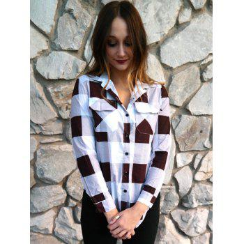 Long Sleeve Side Slit Plaid Button Up Shirt - L L