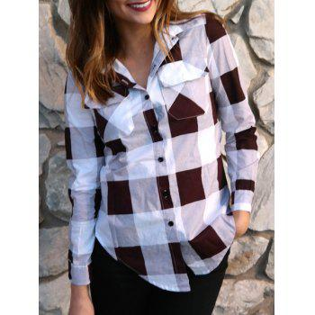 Long Sleeve Side Slit Plaid Button Up Shirt - DEEP RED DEEP RED