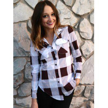 Long Sleeve Side Slit Plaid Button Up Shirt - DEEP RED L