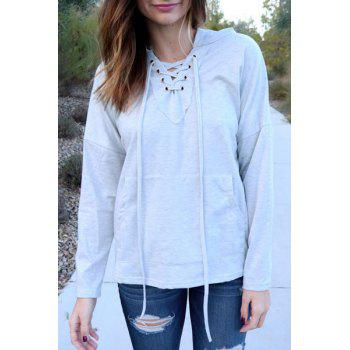 Stylish Long Sleeve Hooded Solid Color Lace-Up Women's Pullover Hoodie