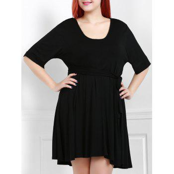 Sexy Black Plunging Neck 1/2 Sleeve Waist Tied Midi Dress For Women
