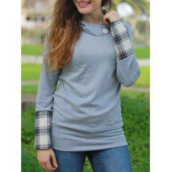 Stylish Hooded Long Sleeve Plaid Spliced Women's Hoodie