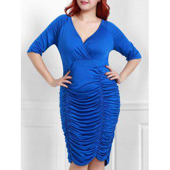 Trendy Solid Color V-Neck Half Sleeve Pleated Bodycon Midi Dress For Women