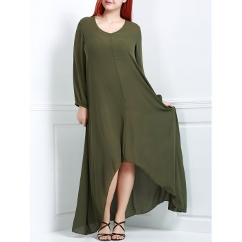 Attractive Solid Color V-Neck Long Sleeve Irregular Dress For Women