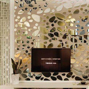 12 Pcs DIY 3D Pebble Shape Mirror Wall Stickers