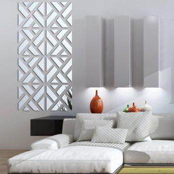 Stylish DIY Geometric Combination Type 3D Mirror Wall Stickers - SILVER