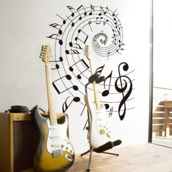 Stylish Removable Music Note Pattern Bedroom Decoration Wall Stickers - BLACK