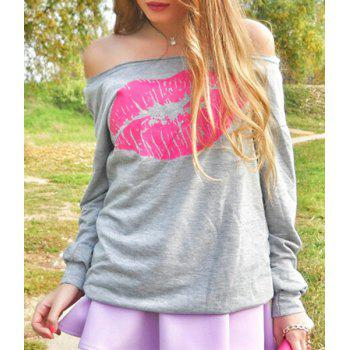 Attractive Lip Printed Color Block Pullover Sweatshirt For Women