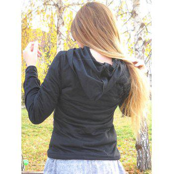 Stylish Black Hooded Skull Printed Pullover Hoodie For Women - BLACK L